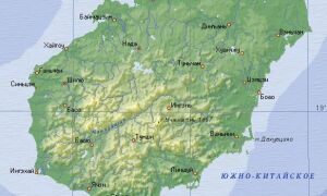 Карта острова Хайнань, Китай