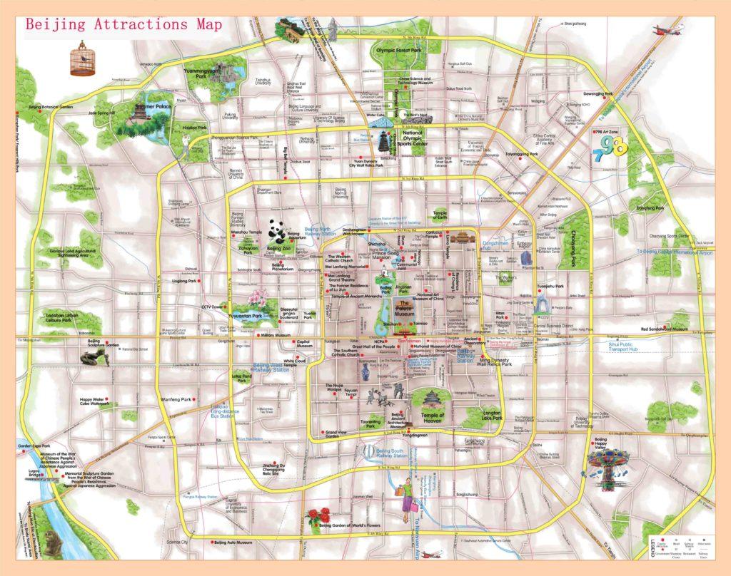 Достопримечательности Пекина на карте