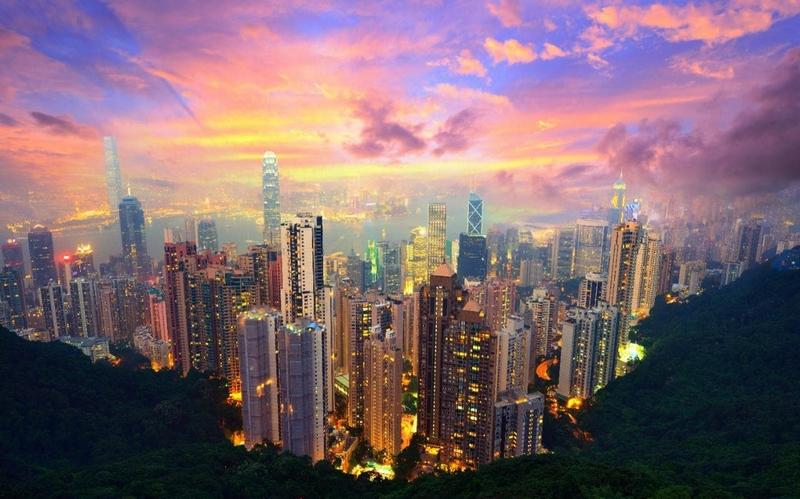 Гонконг на закате, вид с пика Виктории