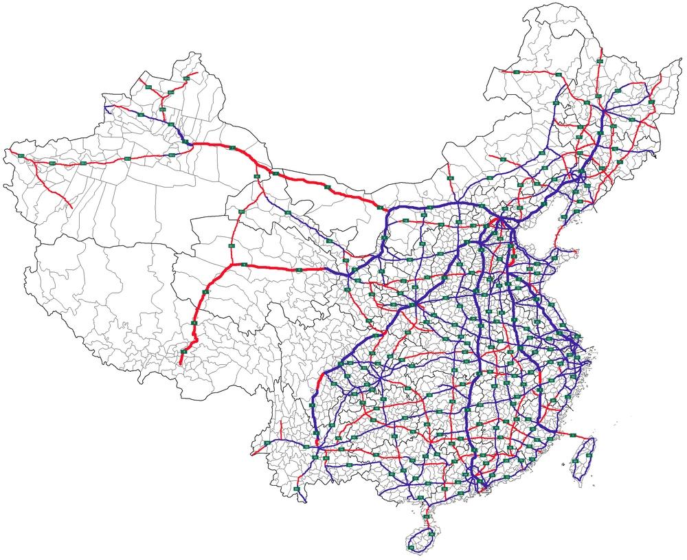 Карта скоростных автодорог Китая