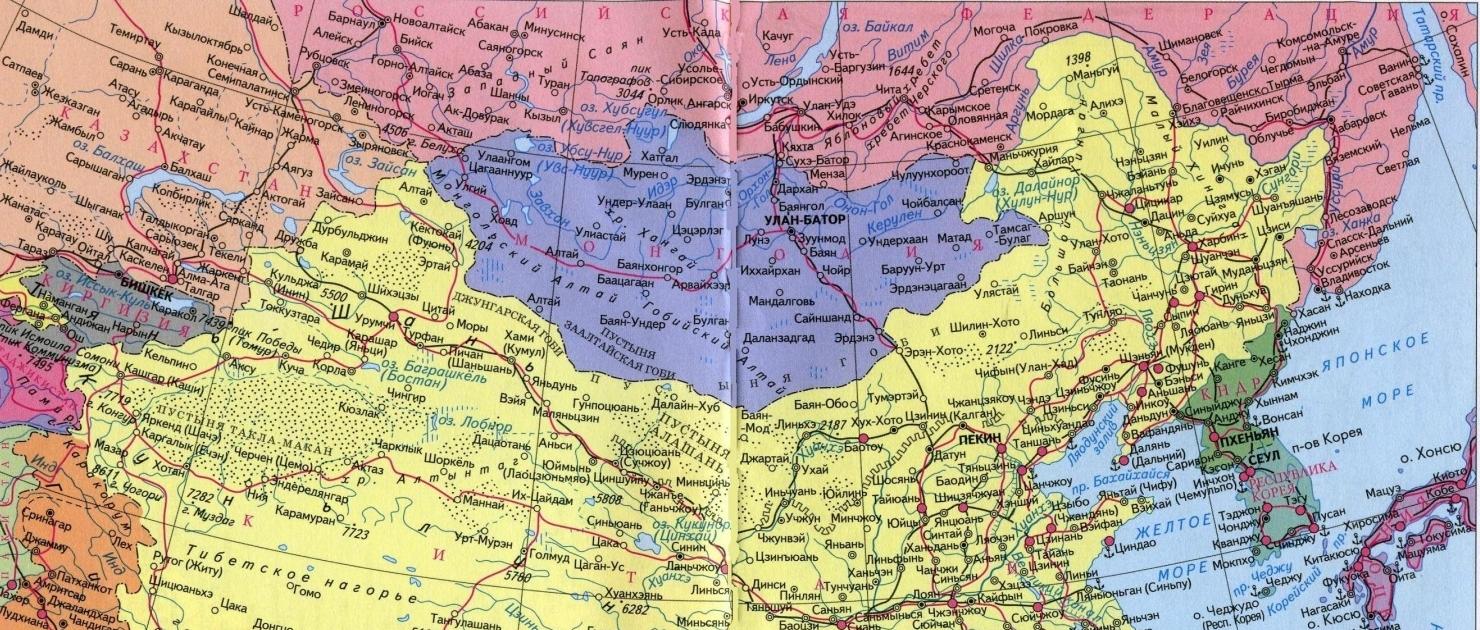 Северный Китай на карте