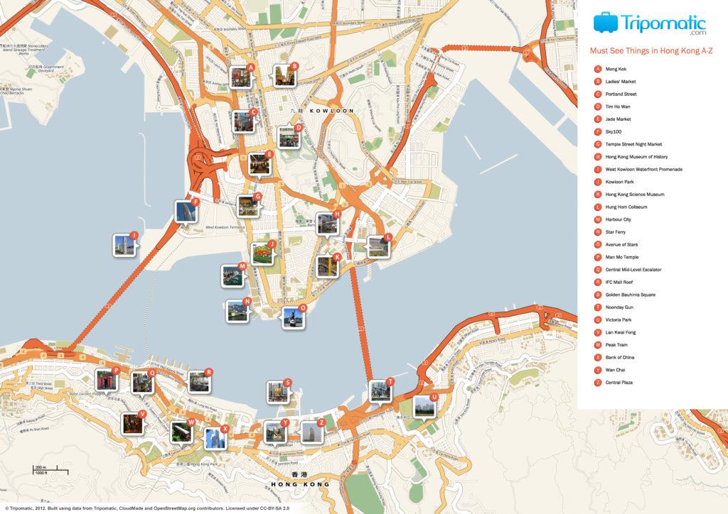 Карта Гонконга с главными достопримечательностями