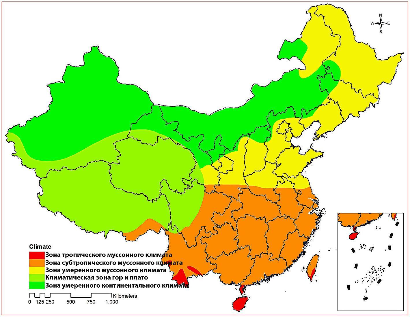 Климатические пояса Китая