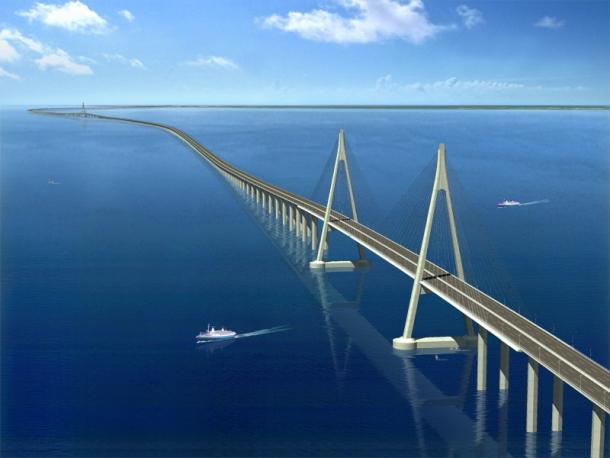 Мост в Восточно-Китайском море через залив Ханчжоувань