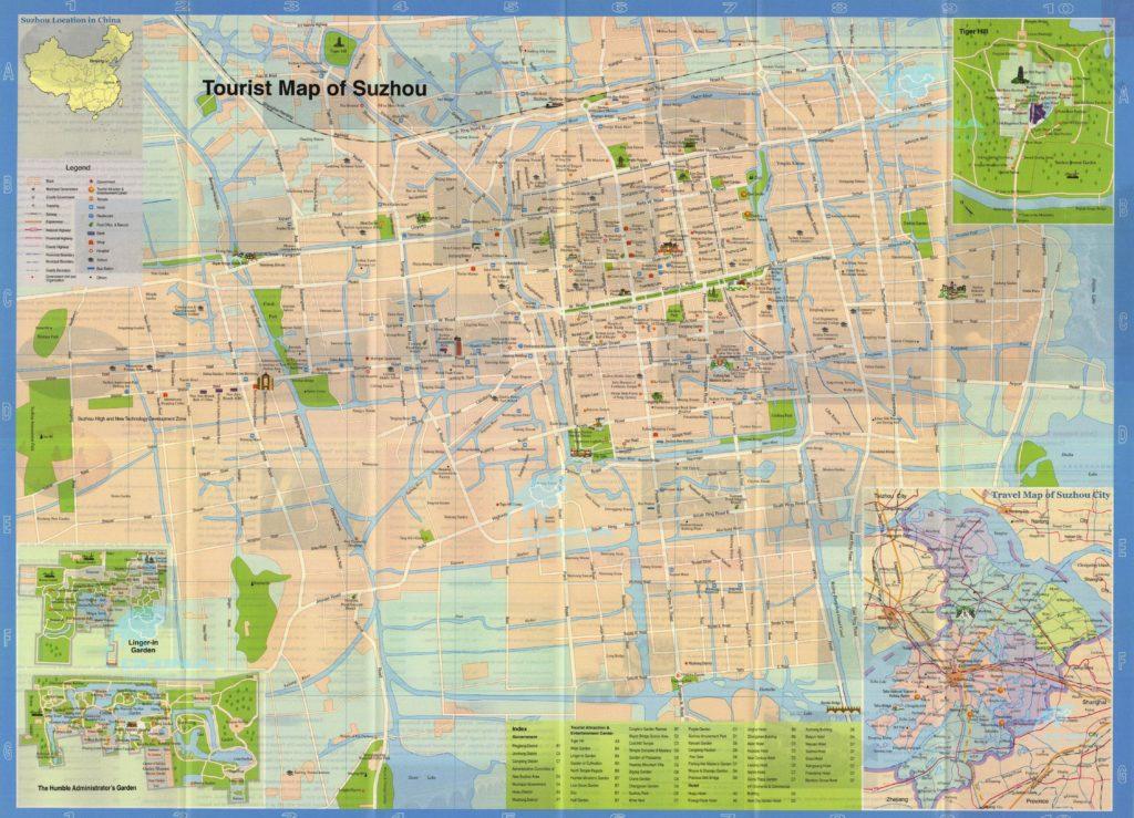 Подробная туристическая карта Сучжоу, Китай