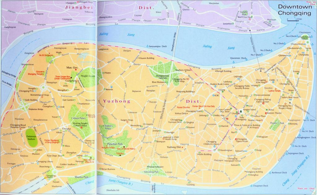 Карта центра Куньмин с достопримечательностями
