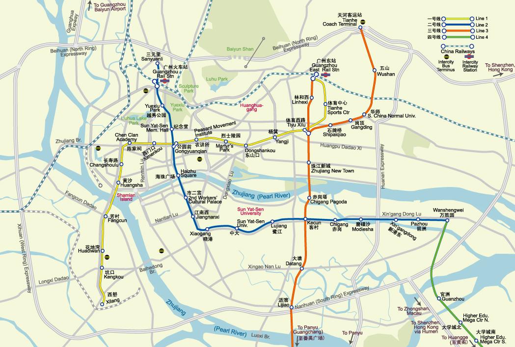 Схема метро Гуанчжоу на карте города
