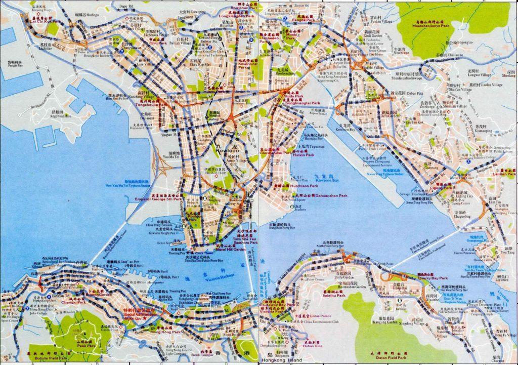 Подробная карта города Гонконг, Китай