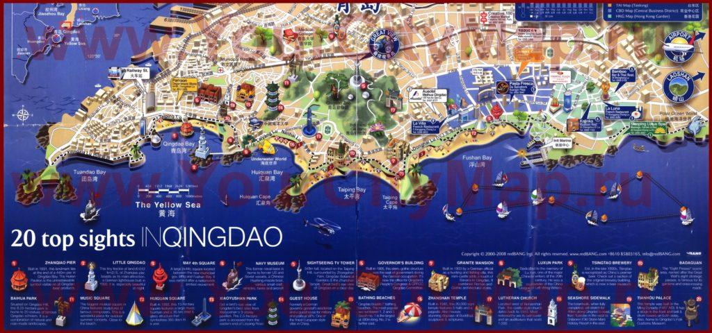 Достопримечательности Циндао на карте