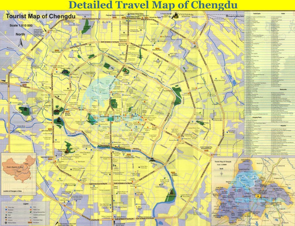 Карта Чэнду с достопримечательностями