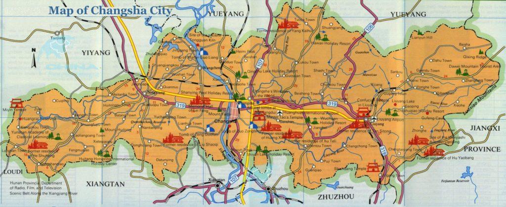 Достопримечательности Чанши на карте