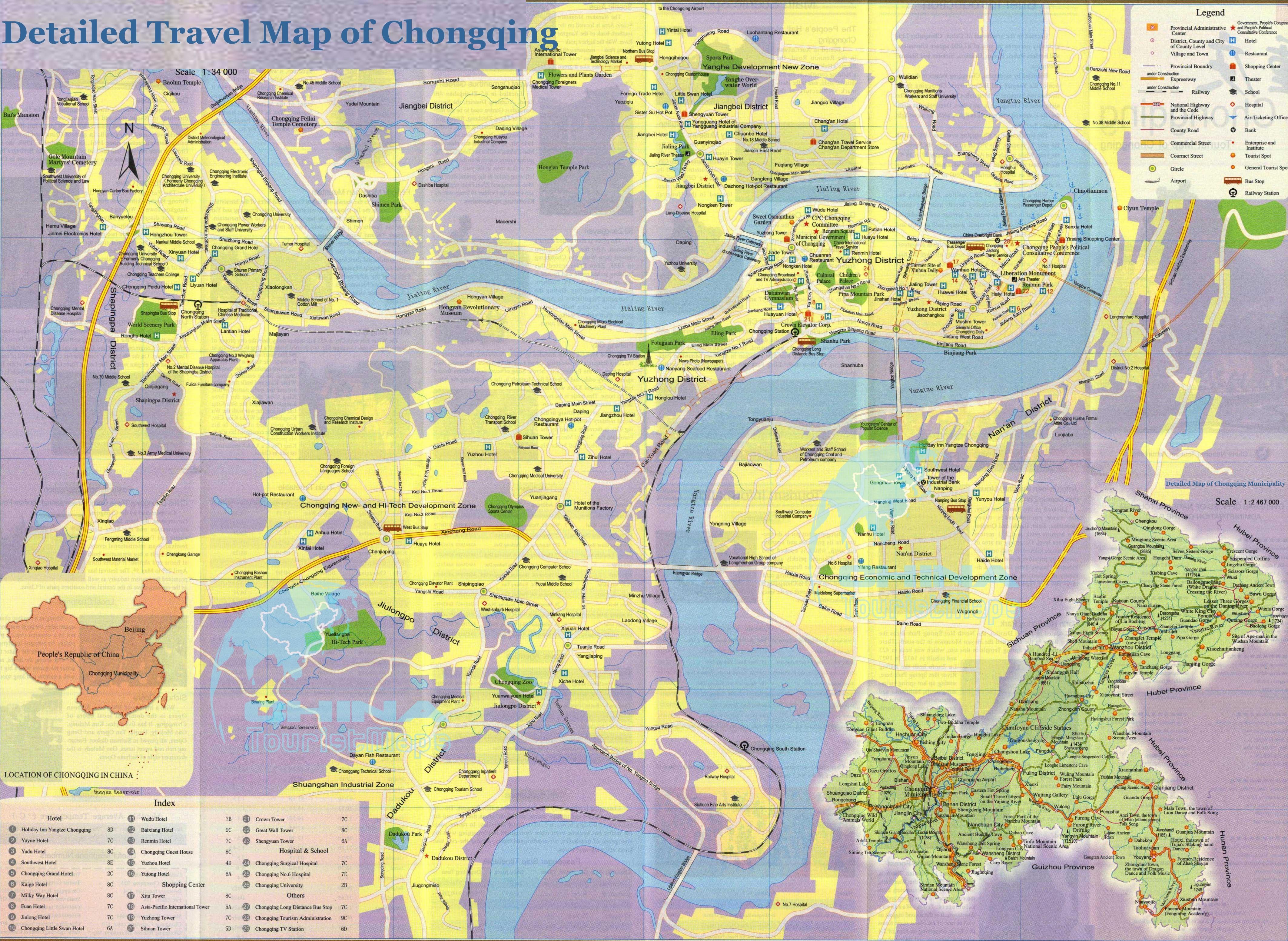 Подробная туристическая карта Куньмин с достопримечательностями
