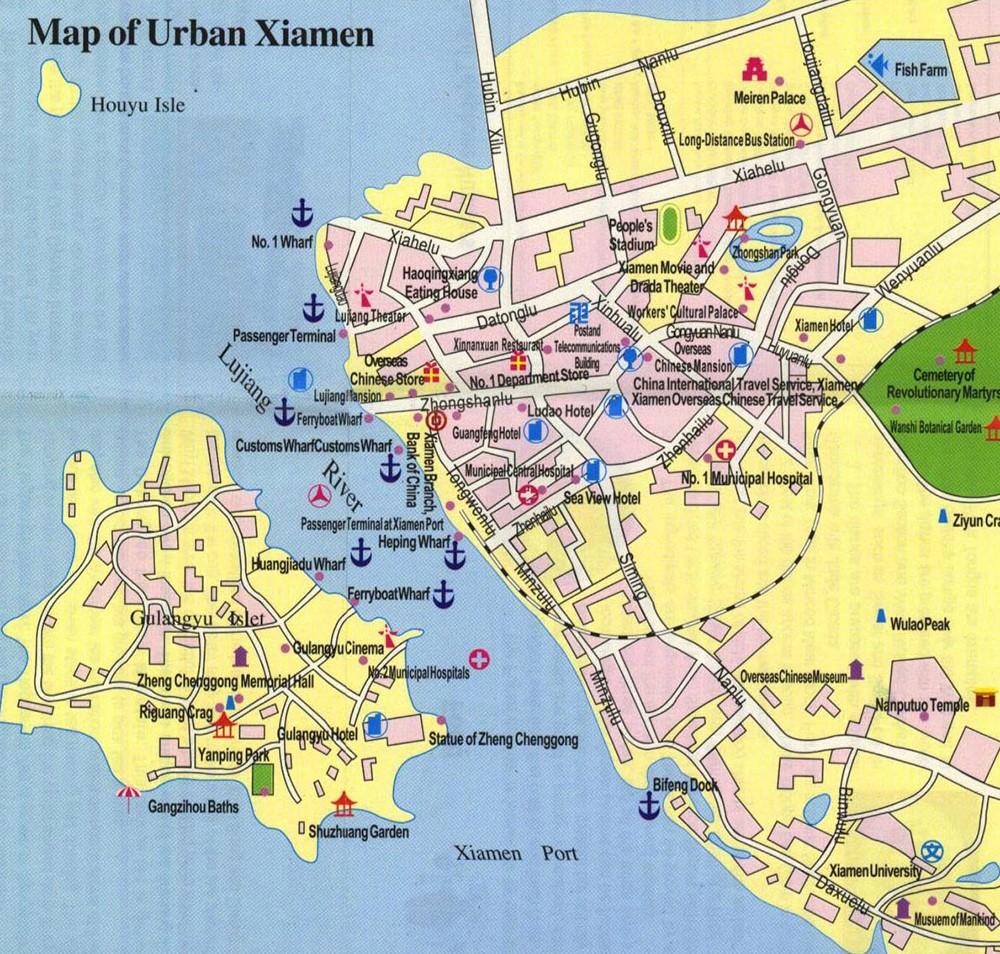 Достопримечательности Сямыня на карте