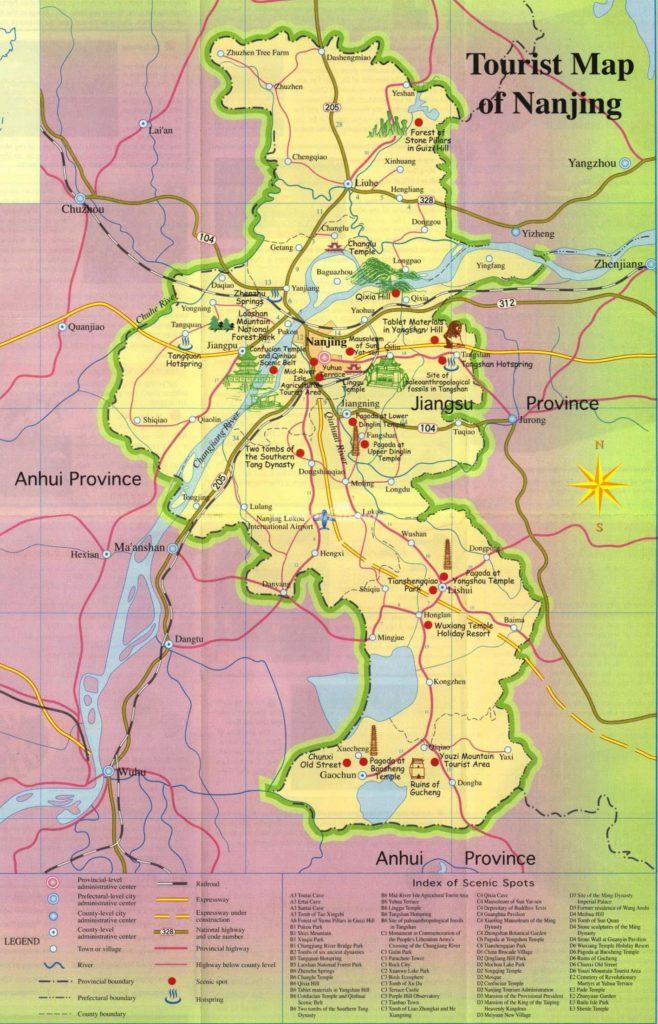 Карта достопримечательностей Нанкин, Китай