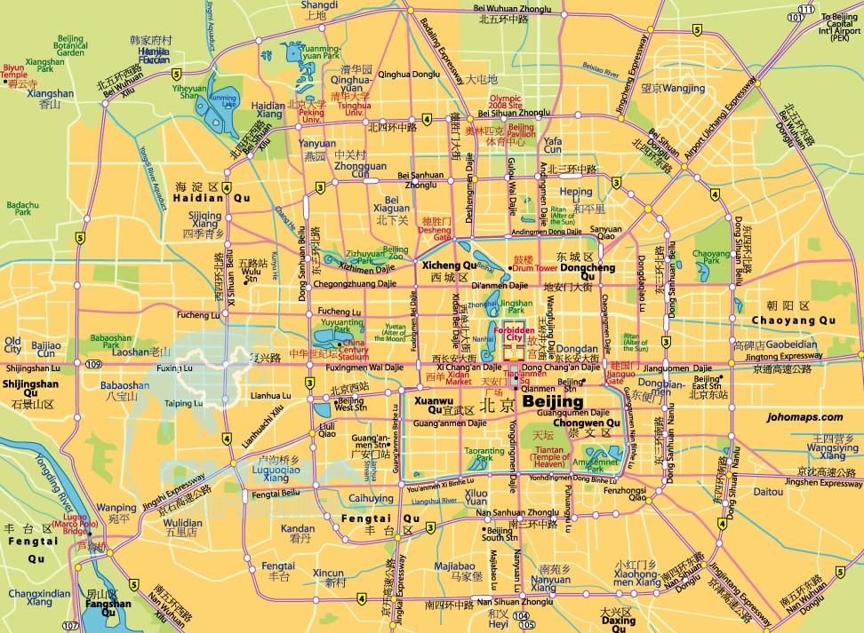 Карта районов Пекина