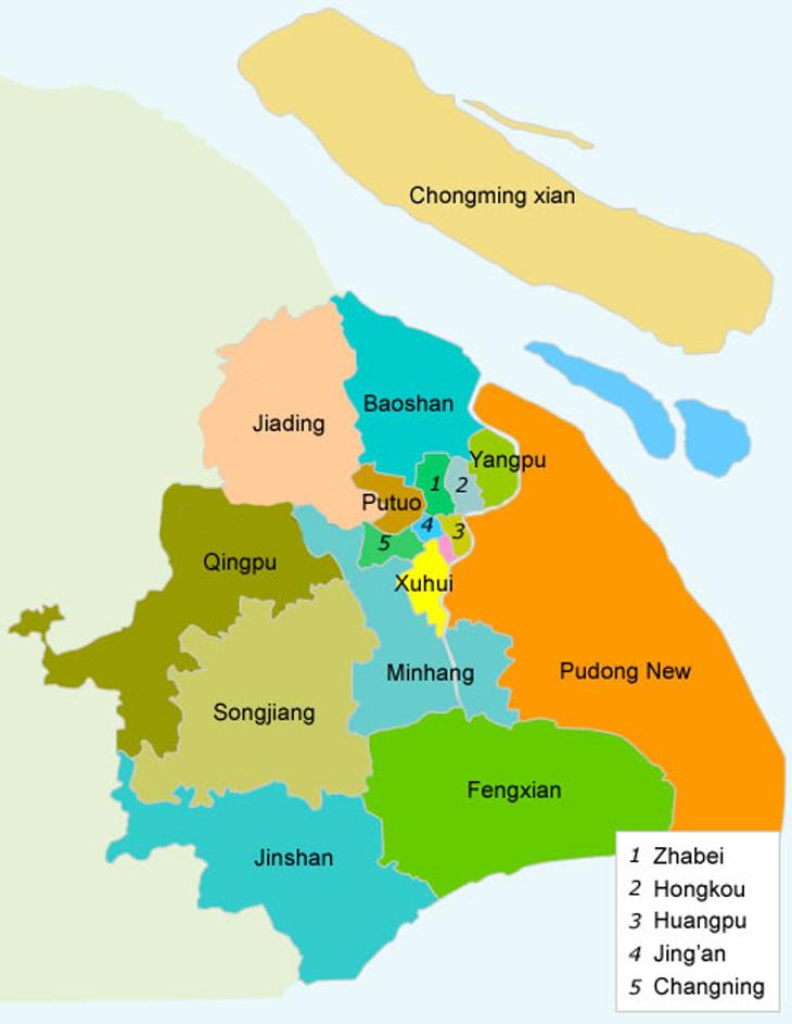 Карта районов Шанхая