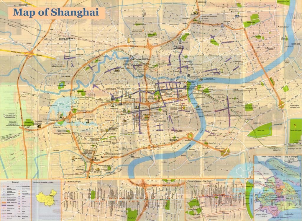 Карта Шанхая с достопримечательностями