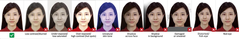 Не допускаются блики, тени, игра света на лице, светлые пятна, затененность. Запрещено фотографироваться в полутемном помещении, что помещает сделать четкий, светлый снимок. На цифровых фотографиях надо убрать эффект «красных глаз», тень, которая часто появляется после использования вспышки. Запрещено на электронных фото применять на снимках различные художественные эффекты, подписи и надписи.
