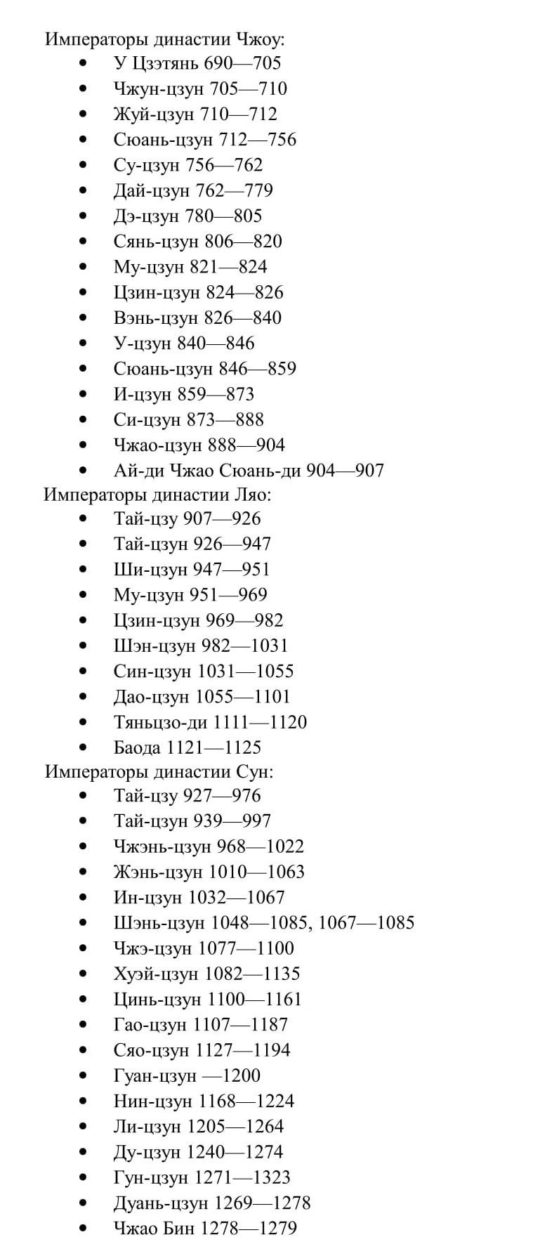 список императоров