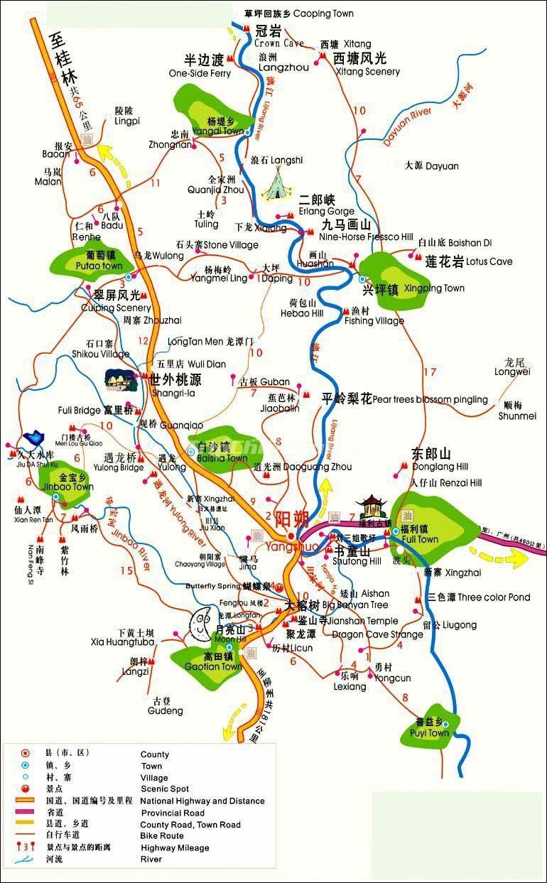 Достопримечательности Яншо на карте