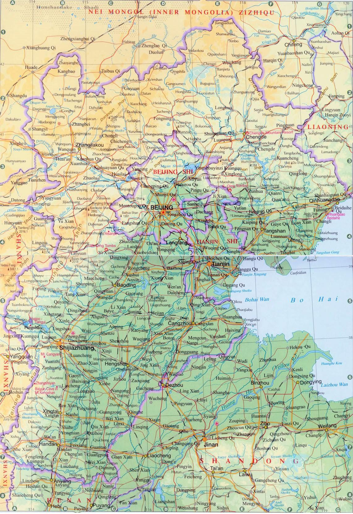 Карта провинции Хэбэй в Китае