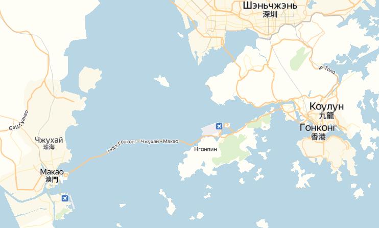Расстояние Гонконг – Макао