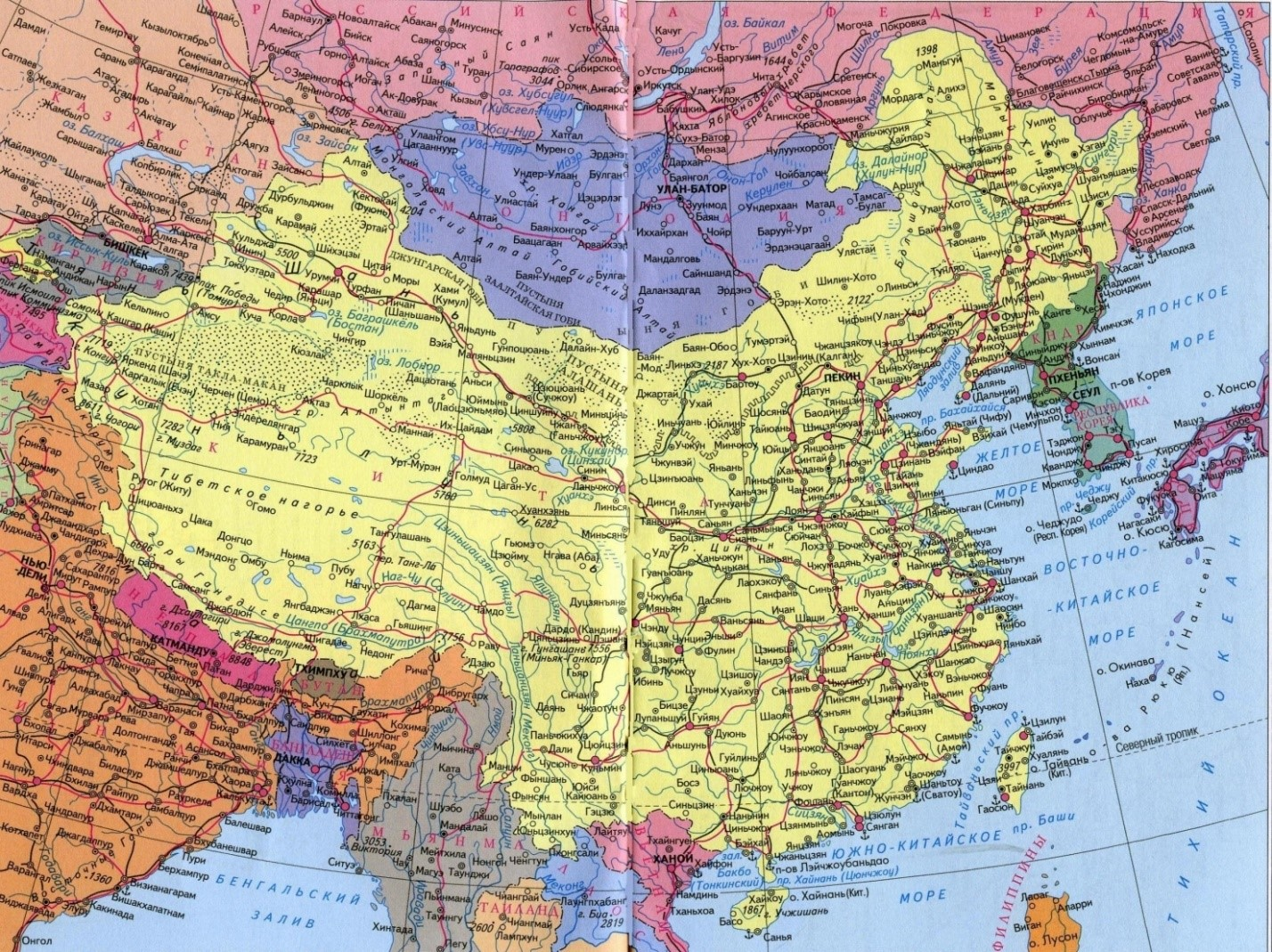 Реки Китая на карте с названиями