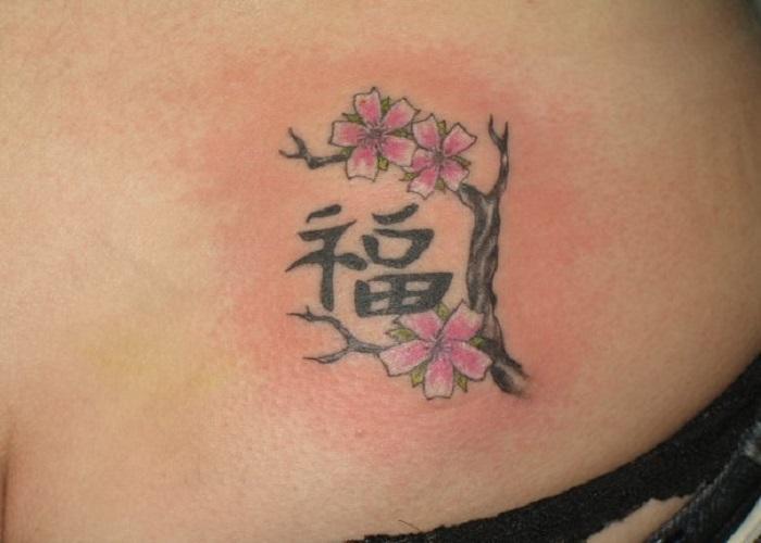 Китайские иероглиф Счастье тату